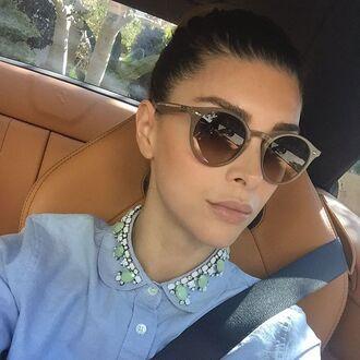 sunglasses shiva safai celebrity brown sunglasses shirt blue shirt denim shirt
