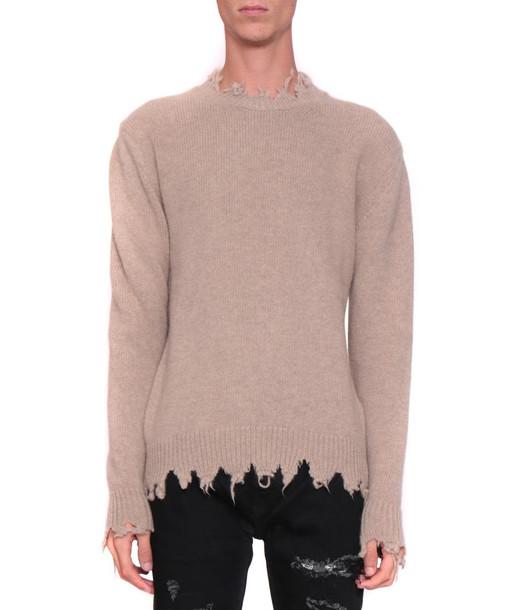 Overcome Wool Blend Distressed Sweater in beige / beige