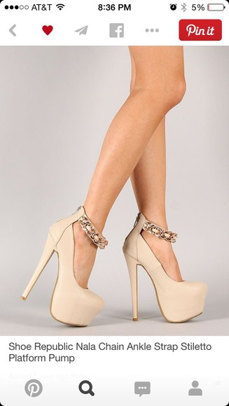 chain high heels strap nude