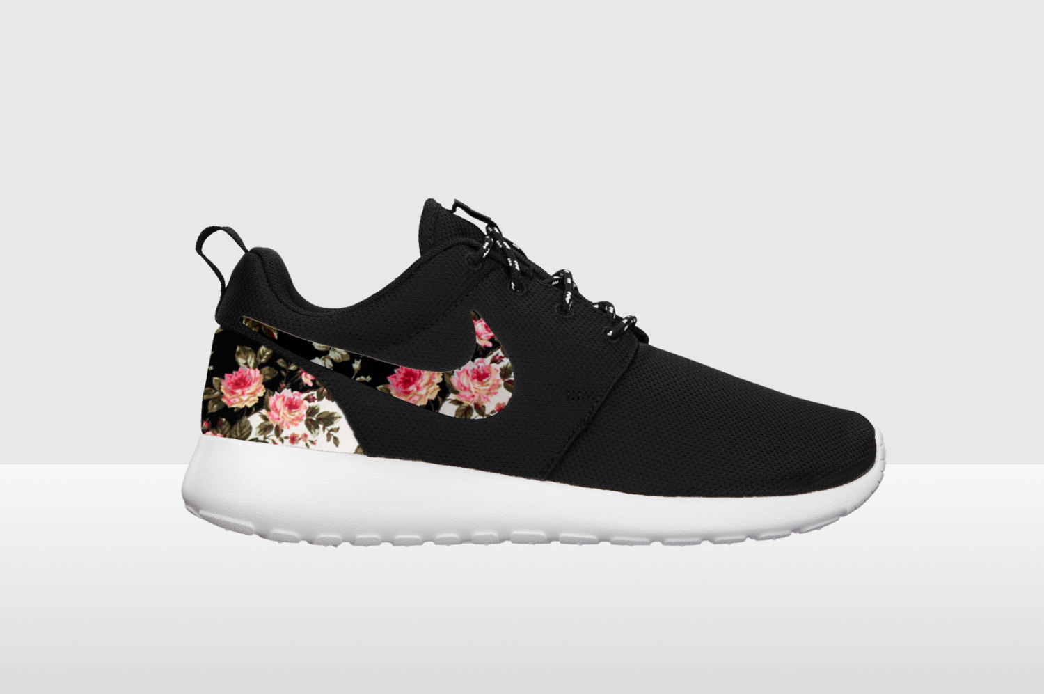 Black And White Floral Nike Running Shoes