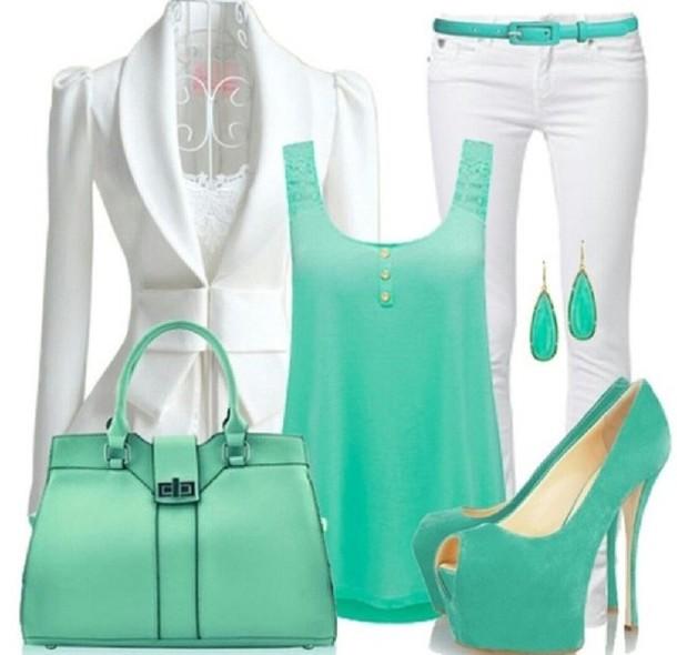 tank top green blue mint white dress ariana grande vintage girly