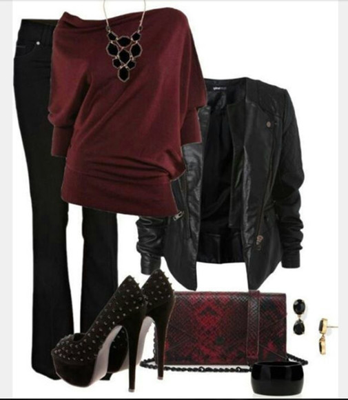 bracelet shirt bangle necklace clutch jacket blouse top sweater off the shoulder burgundy top pendant leather jacket pants high heels pumps platform heels studded heels bag earrings loose fit top clothes outfit