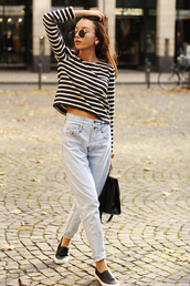 the fashion cuisine,blogger,light blue jeans,mom jeans,striped top
