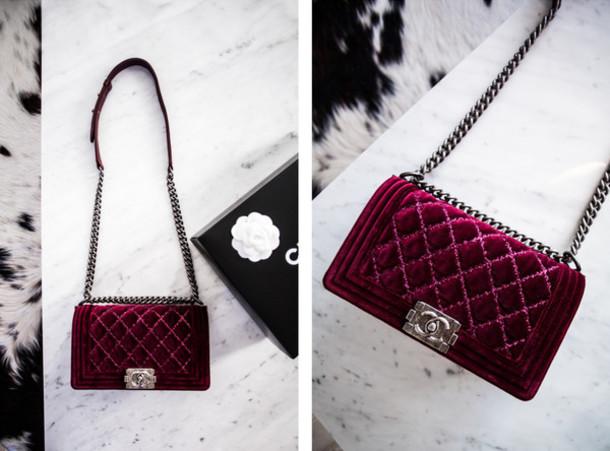 3c824afffbcb kenza, blogger, bag, chanel bag, quilted bag, velvet bag - Wheretoget