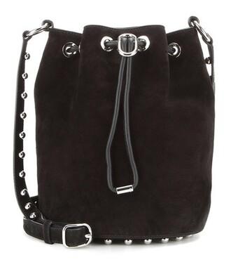 embellished bag bucket bag suede black