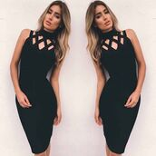 dress,maries boutique,bandage dress,caged dress,house of cb,celeb,party,black,black dress,little black dress,bodycon