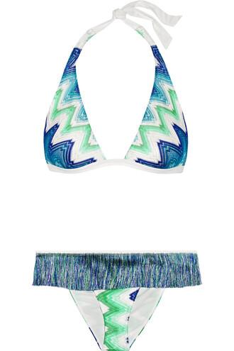 bikini knit crochet blue mint cobalt blue swimwear
