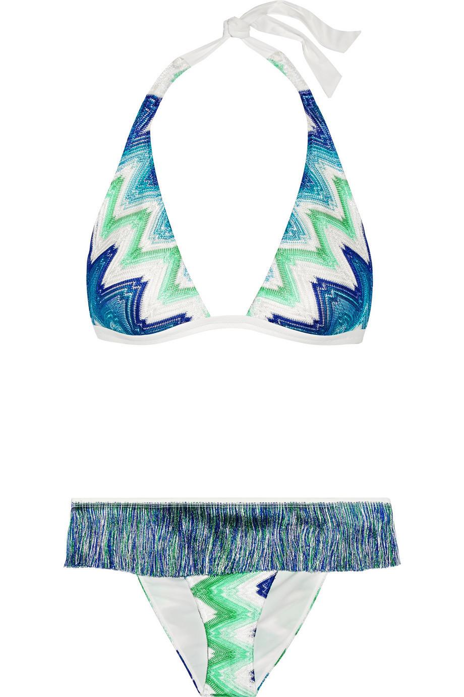 ff99a70068 Missoni Mare Fringed Crochet-Knit Halterneck Bikini in blue / mint