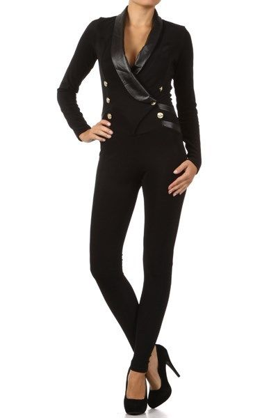 Long sleeve tuxedo bodysuit jumpsuit with leatherette trim color red