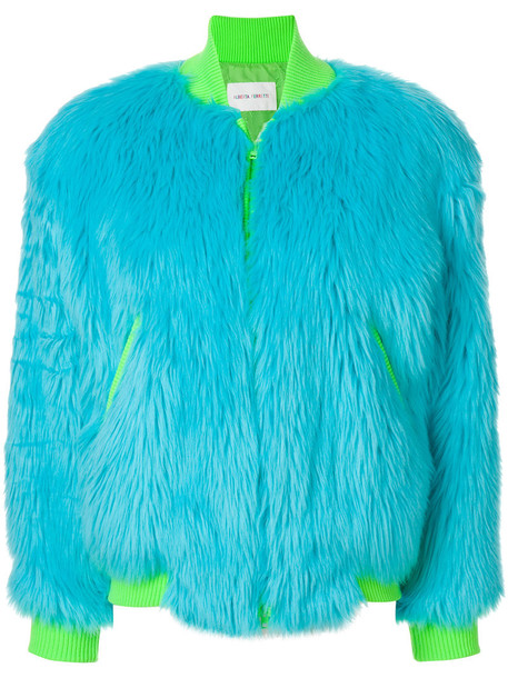 jacket bomber jacket fur faux fur women blue wool