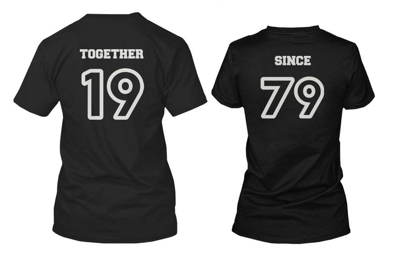 Amazon.com: Custom Couple Shirts - Together Since - Cute Personalized Matching Shirts: Clothing