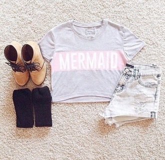 crop tops mermaid heels shorts denim t-shirt high heels high waisted shorts high waisted boots wedges socks cropped shirt blouse top tank top