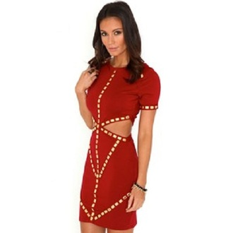 gold studded red dress side cutout