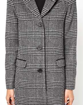 ASOS | ASOS - Long manteau à carreaux monochromes chez ASOS