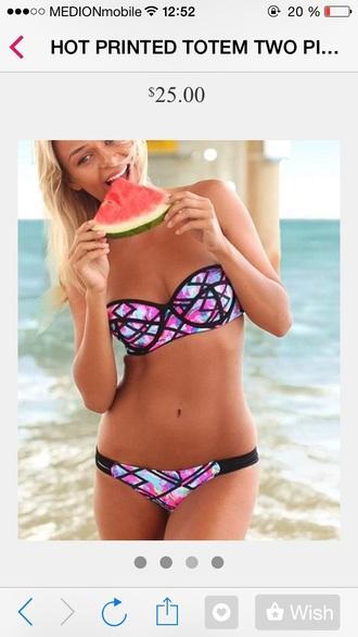 swimwear style cool black bikini pink swimwear blue swimwear totem two-piece hot body nice
