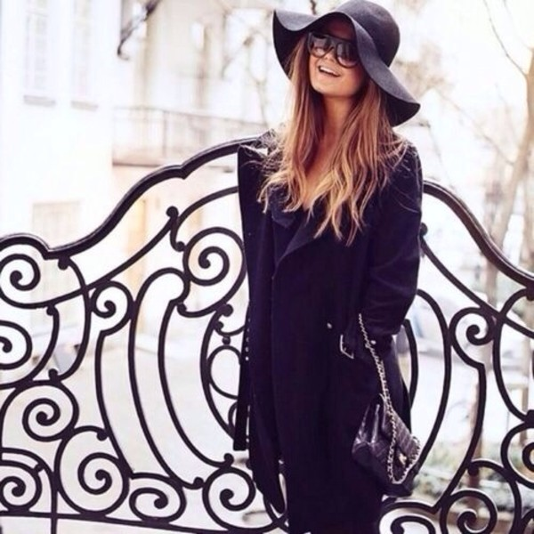 hat floppy hat black