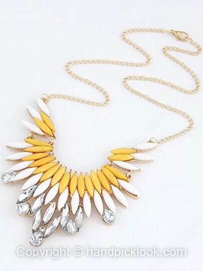 Yellow White Gemstone Geometric Gold Chain Necklace - HandpickLook.com