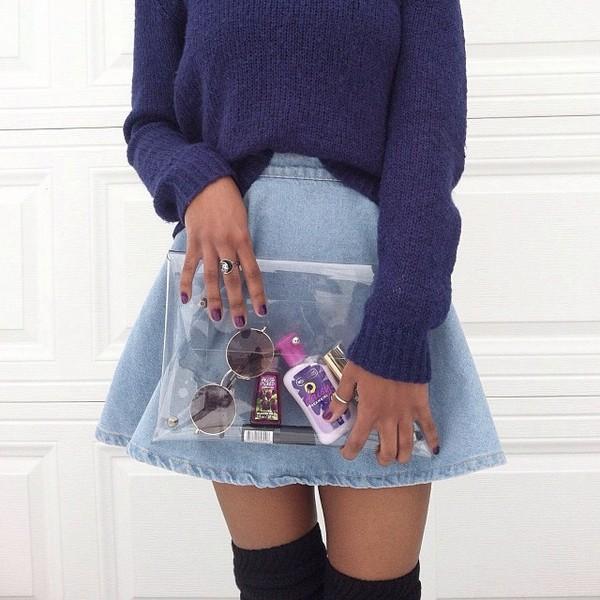 skirt jeans blue bag sweater