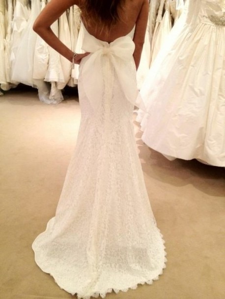 Dress bridal gown lace dress low cut back bow wedding for Lace low back wedding dress