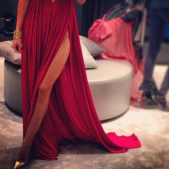 dress red dress maxi dress red maxi prom cut