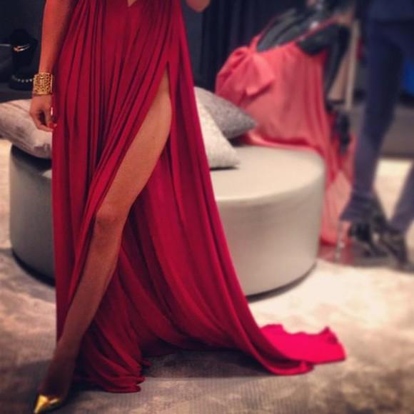 prom cut dress red dress maxi dress red maxi