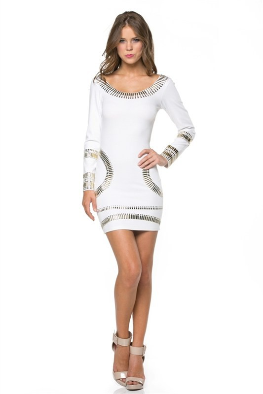 White Long Sleeve Dress with Metallic Colored Tribal Detailing