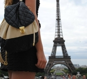 quilted bag,bag,quilted,black quilted backpack,black and gold,paris
