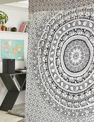home accessory elephant mandala indian handmade tapestry wall hanging wall decor home decor queen size bed cover blanket bedding bedcover black and white