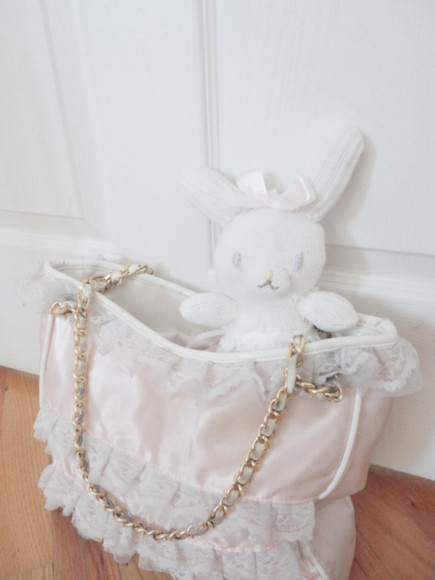 laced white cute lace bag pink satin pink satin gold gold chain purse ruffles ruffle hime gyaru princess tote bunny bow white line detail white lined lined japanese korean white ruffles white ruffled designer oversized oversize lolita kawaii