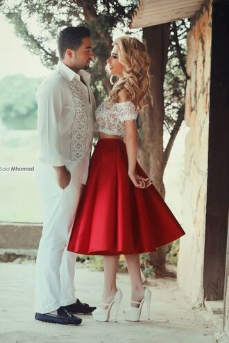 skirt red dress style sexy dress fashion girly lovely pepa white dress wedding dress blonde hair 50s style top two-piece dress full skirt lace dress satin skirt high waisted high waisted skirt red red skirt midi skirt crop tops cropped white shoes