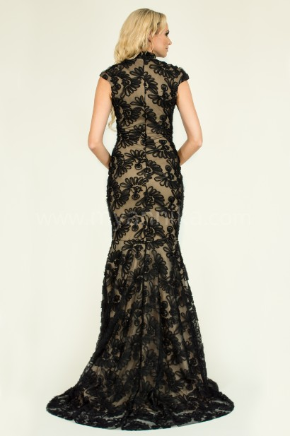 Black floral tulle nude illusion mermaid gown annika