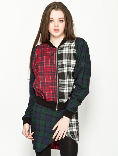 THE RAGGED PRIEST Misha Tartan Bomber | zooq.com