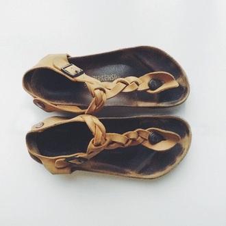 shoes brown birkenstocks sandel braid
