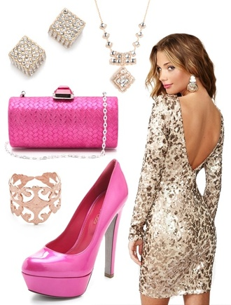 jewels pink n gold party outfit holiday dress gold dress sequin dress gold sequin dress