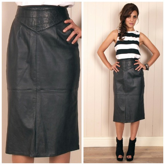 skirt midi skirt black vintage leather leather skirts pencil skirt black leather skirt 80s