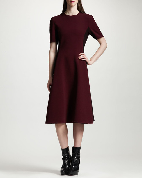 dress two-tone a-line dress a line dress midi dress burgundy stella mccartney