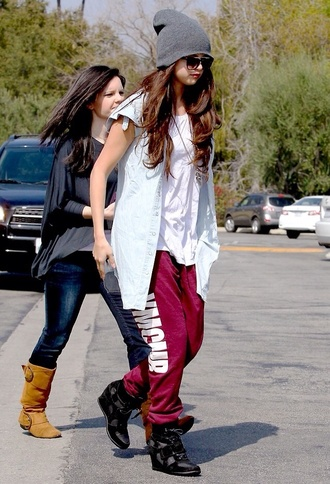 hat selena gomez pants jacket shirt shoes selena gomez sunglasses sun