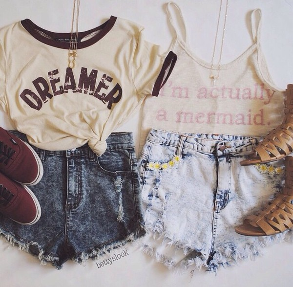 top denim hipster shorts shoes gladiators tan brown sandals outfit casual shirt beautiful girl giry wishlist vintage style vogue cool