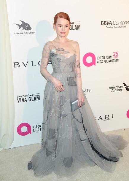 dress madelaine petsch gown prom dress long prom dress oscars 2018 grey