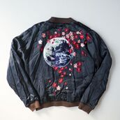 jacket,cherry blossom,bomber jacket,satin bomber,black,black bomber jacket,brown,black jacket,world,flowers,embroidered,embroidered jacket,vintage,hipster,tumblr,aesthetic,grunge,punk,aesthetic tumblr,aesthetic grunge,japan,japanese,japanese fashion,asian,asian fashion
