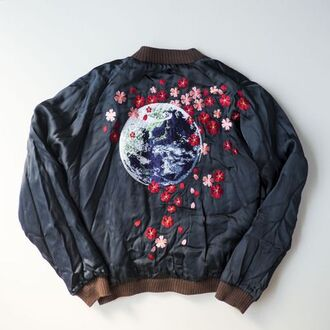 jacket cherry blossom bomber jacket satin bomber black black bomber jacket brown black jacket world flowers embroidered embroidered jacket vintage hipster tumblr aesthetic grunge punk aesthetic tumblr aesthetic grunge japan japanese japanese fashion asian asian fashion