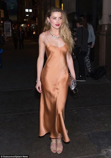dress satin dress slip dress brown dress necklace sandals nude sandals high heel sandals metallic clutch clutch amber heard celebrity style celebrity nude slip dress
