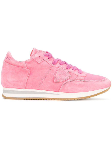 Philippe Model women sneakers leather cotton suede purple pink shoes