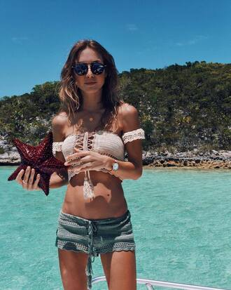 top tumblr white top white crop tops crop tops crochet top crochet shorts crochet shorts sunglasses summer outfits summer holidays