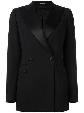 blazer women spandex black wool jacket
