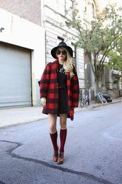 atlantic pacific,blogger,jacket,sunglasses,belt,bag,knee high socks,lumberjack,sweater,skirt,hat,shoes