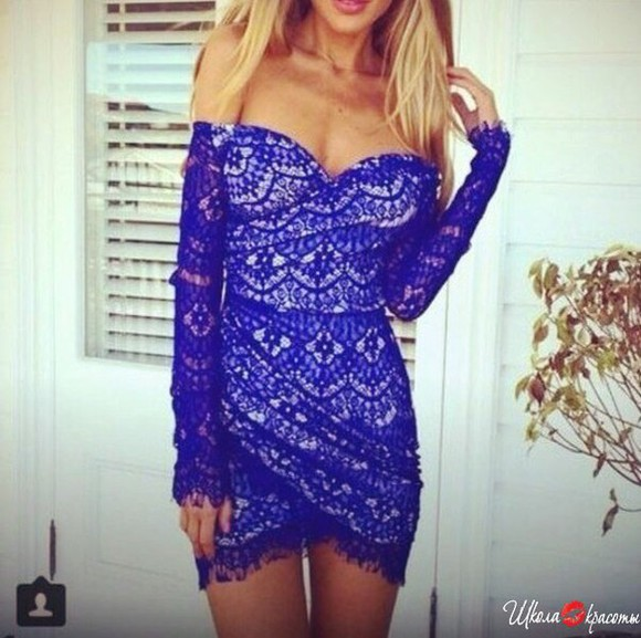 sleeveless lace dress blue dress