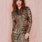 Gold long sleeve sequined contrast mesh yoke dress - sheinside.com