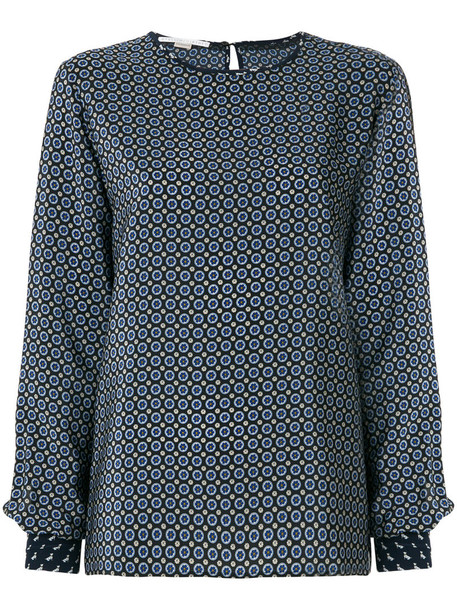 blouse women print blue silk top
