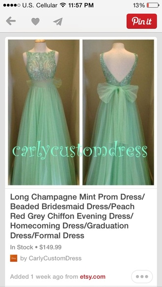 dress bows prom blue lace mint green classy simple